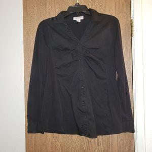 Black button down maternity work blouse